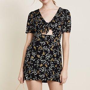 NWOT Free People Sunflower Front-Tie Mini Dress